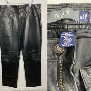 Gap Men's Boot Fit Black Leather Motorcycle Pants